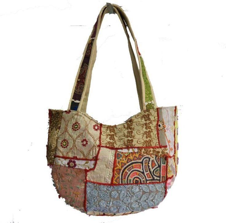 Indian Handmade Ethnic Embroidered Work Women Shoulder Bag Boho Hippie Hand Bag #MadeinIndiaHandmade #ShoulderBags