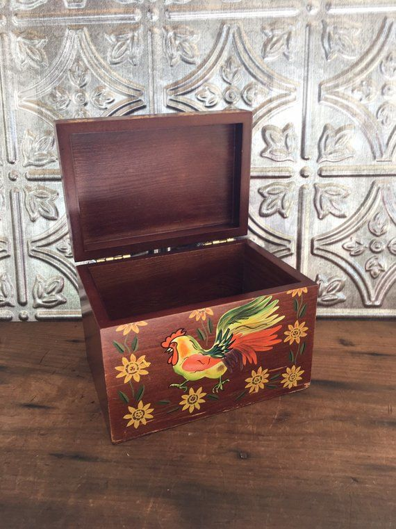 Large Wooden Recipe Box Rooster Painting Tole Ware Hand Painted