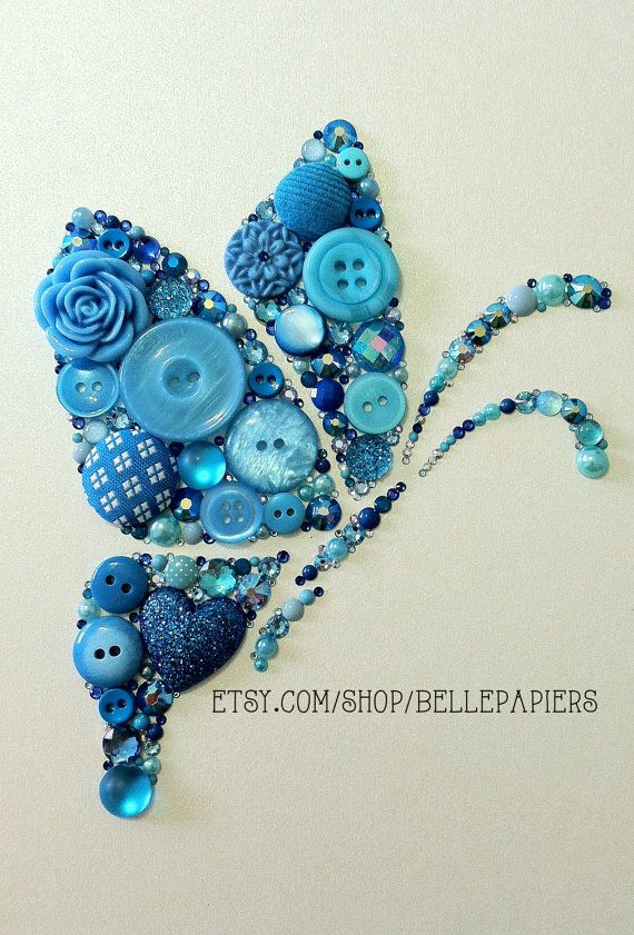 8x10 Button Art & Swarovski Crystal Rhinestone by BellePapiers, $144.00
