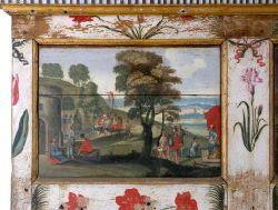 """""""Triomphe de Mardochée et pendaison d'Aman"""" panneau 1 série F - 72) S'il s'agissait par contre de l'édition de 1613 ou de 1617 des Emblema sacra, les brefs commentaires calvinistes qu'elles contenaient auraient pu lui convenir encore mieux. On sait que les ouvrages interdits circulaient facilement entre les Flandres et le port de La Rochelle et que d'autre part, le milieu des imprimeurs et des marchands-libraires de toute la région était presque totalement acquis à la religion réformée…"""
