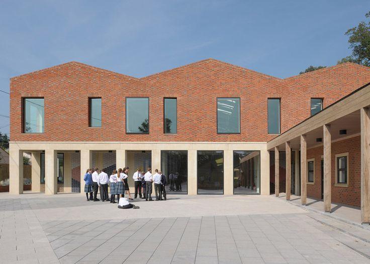 Feilden Fowles reinterprets classical typologies for red brick school building in Somerset.