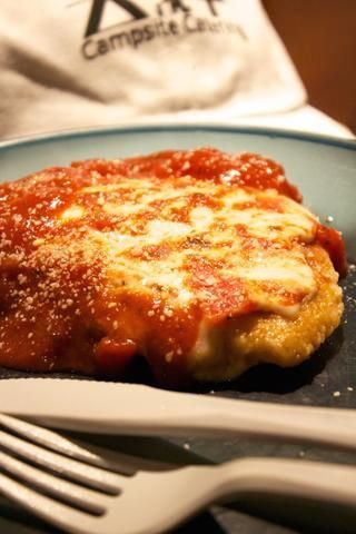 ♫ Chicken Parm you taste so good ♫ Yes it does, breaded chicken breast with Marinara Sauce, Mozzarella and Parisian Cheese. Add some pasta and this is a delicious backpacking meal. Special Pinterest o