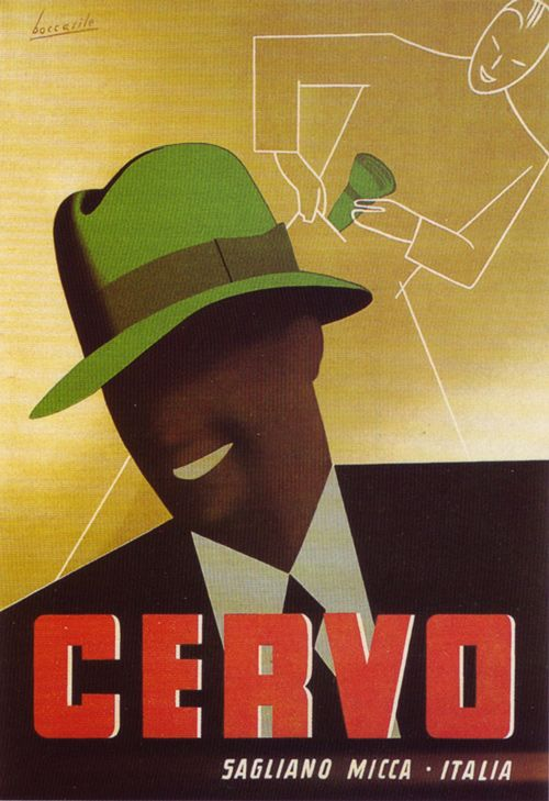 """Vintage Italian Posters - Italy. Ad poster for Cervo """"rainhat,"""" 1935."""
