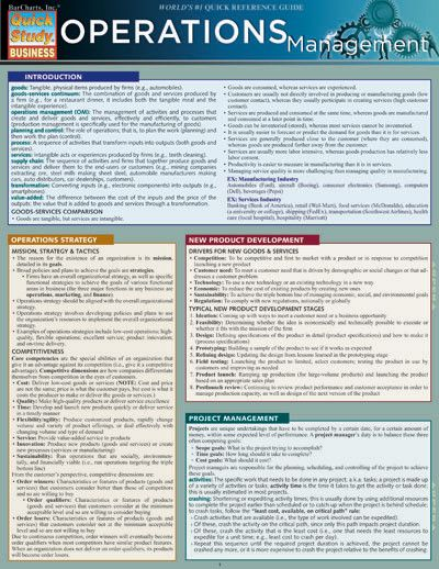 Operations Management Laminated Reference Guide