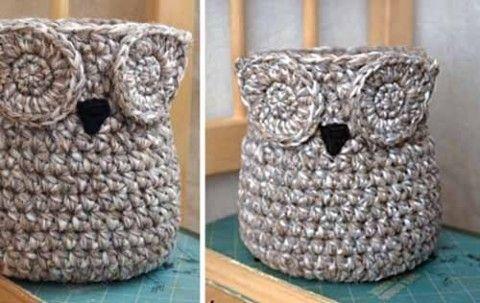 Еще одна простая до гениальности вещичка – корзинка «Сова». Можно ее использовать и в качестве вазы, например, для цветов, спрятав внутрь банку с водой. Или сделать карандашницу… В общем, на что хват…