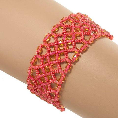 Handmade Coral Glittering Beaded Macrame Bracelet