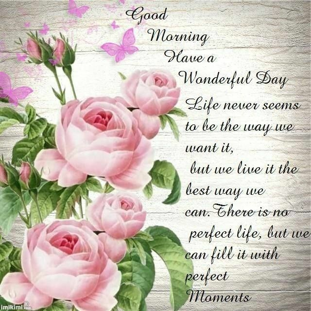 Good morning Have a wonderful day Life never seems to be the way we want it, but we live it the best way we can. There is no perfect life, but we can fill it with perfect …
