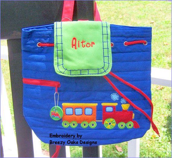Bag, Tote, Diaper, School, Toddler, Kids, Preschool, Knapsack, Bookbag, Overnight, Summer Camp, Personalized Stephen Joseph Train Backpack by breezyoaksdesigns. Explore more products on http://breezyoaksdesigns.etsy.com