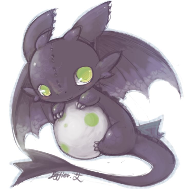 """""""How to Train Your Dragon"""" fan art - Baby Toothless"""