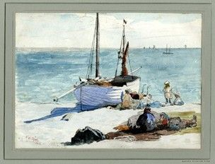 "Alfred William Rich,  ""Fishing boat and figures on the beach""; a woman is sitting with a pram and her children near a beached clinker-built boat, behind her a man and woman lying on the sand. Date 1901, Watercolour over graphite   Producer name   Drawn by: Alfred William Rich biography  School/style      British"