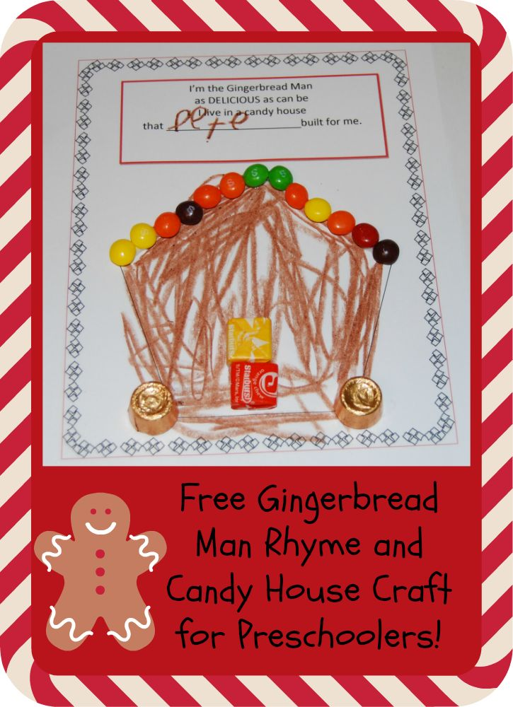 Preschoolers LOVE The Gingerbread Man!  Come chant a Gingerbread Rhyme and Create a Candy House for a class book or to display!