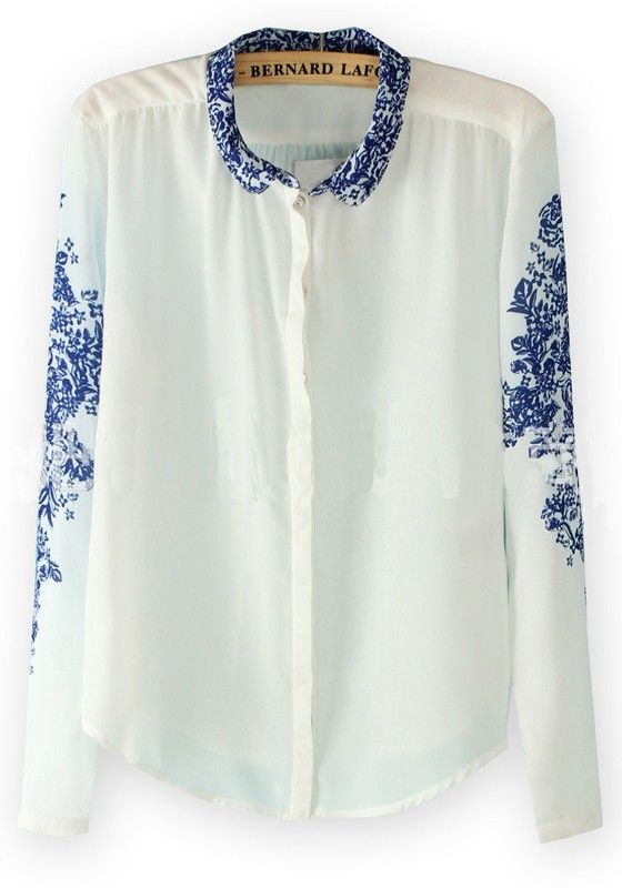 White Floral Lapel Long Sleeve Chiffon Blouse