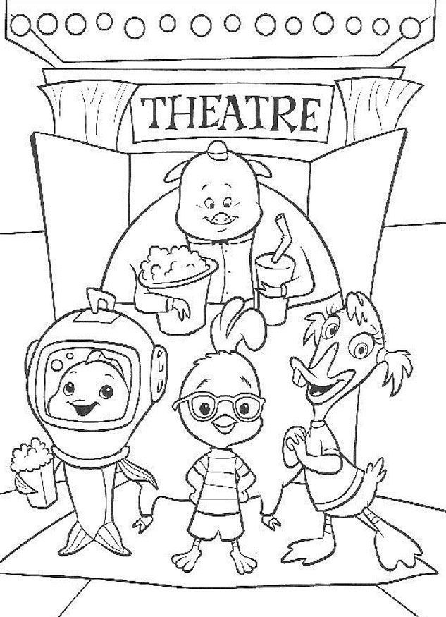Chicken Little And Friend Watch Theatre Coloring Page   Chicken Little Car Coloring  Pages