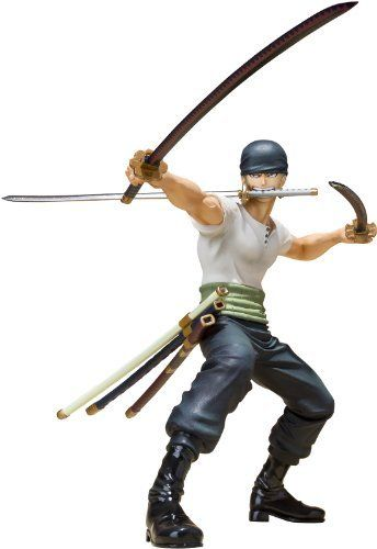 """Bandai Roronoa Zoro (Battle Version) """"One Piece"""" - Figuarts Zero by Bandai Tamashii Nations. $27.95. Interchangeable hand parts. Special display stand. Interchangeable head (bandana/no bandana). From the Manufacturer                Tamashii Nations is proud to introduce a new dynamic into the popular Figuarts ZERO line-up with Battle Versions of your favorite One Piece characters.  Figurine set depicts the """"Three Swords Style"""" master swordsman in aggressive duel stan..."""