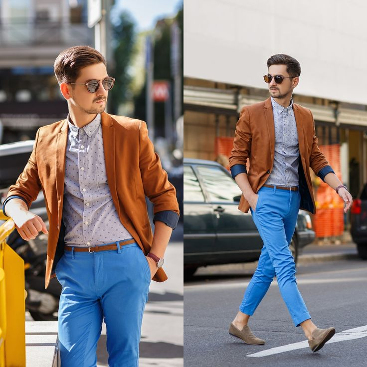 Blog post: http://themysteriousgirl.ro/2015/10/milan-again/  Instagram: https://instagram.com/adriansunriseinc  blue pants trousers topman asos shirt dot dotted beige frank wright shoes zerouv sunglasses brown skinny belt hm jacket blazer cluse watch burgundy