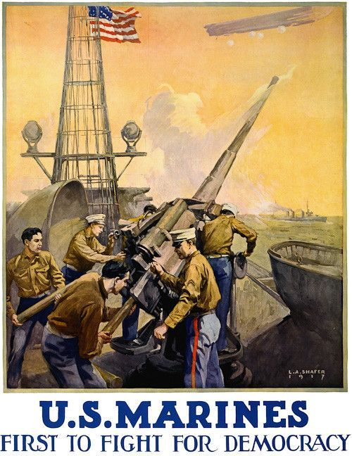A WWI U.S. Marines recruitment poster showing marines firing artillery from a ship. Illustrated by L.A. Shafer, 1917.
