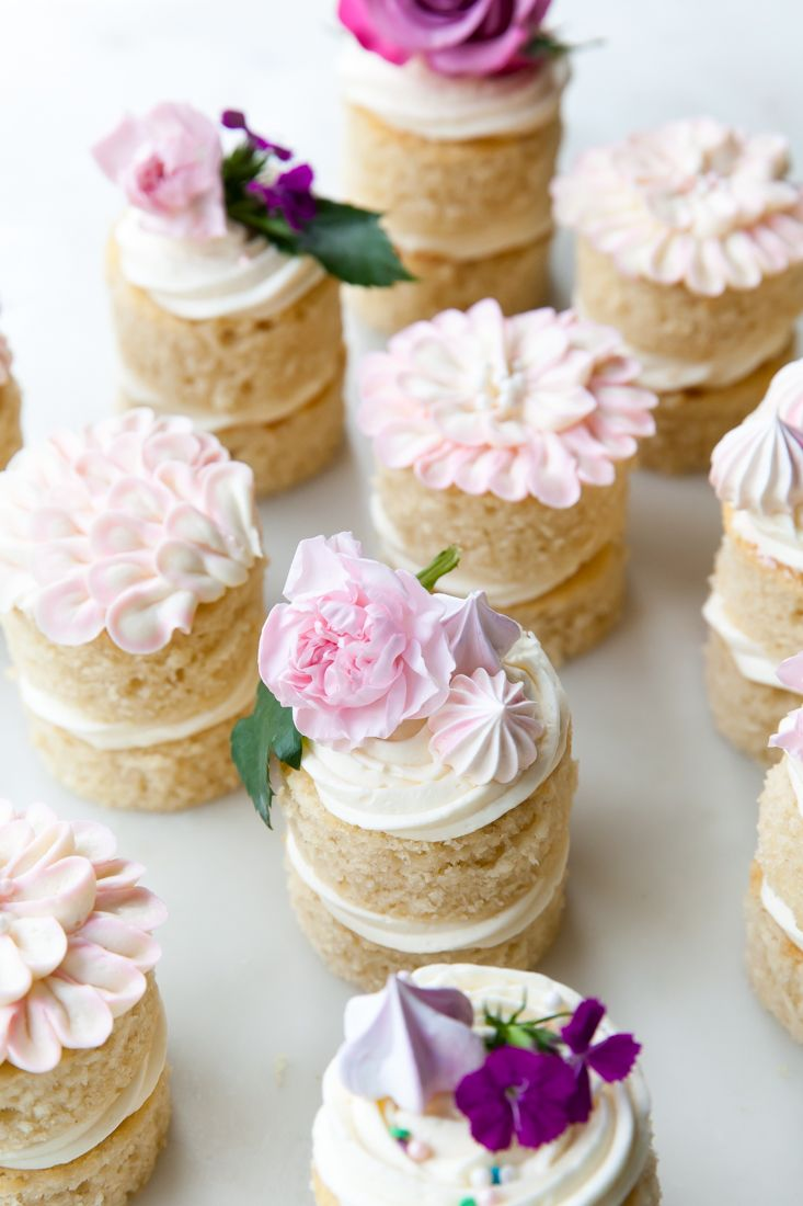 Mini bridal shower dessert idea - mini layer cake with flower cake topper {Courtesy of Style Sweet CA}