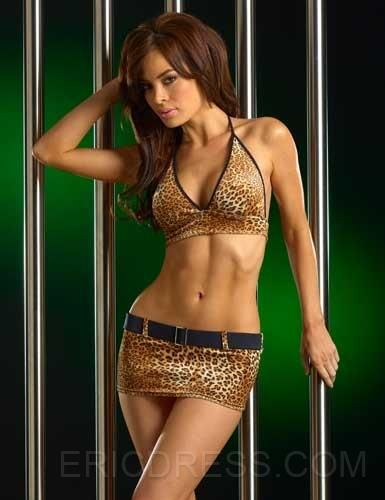 Cheetah Belted Mini Skirt Sets 4186 Costumes,lady's cheap sexy lingerie online