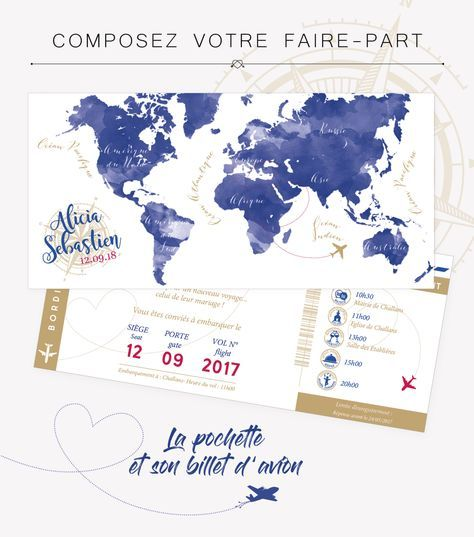 Faire-part GLOBE TROTTER – Decoration mariage