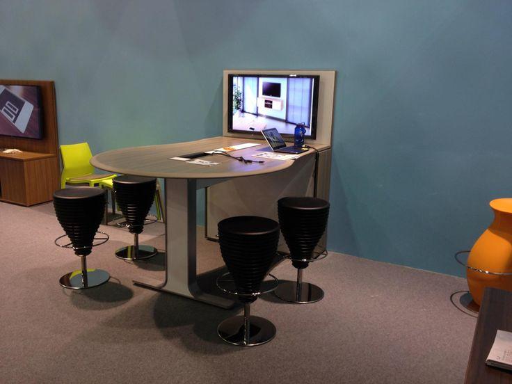 Stand IBEBI in Index-Workspace in Dubai #index #dubai #ibebi #mediatable #table #stools #chairs #bongostools #bongo