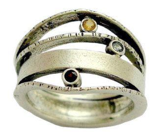 Anillo de plata esterlina, anillo de piedras preciosas madres, anillo de tres piedras preciosas, granate anillo, anillo de citrino, azul anillo topacio - qué te hace sonreír. R1237