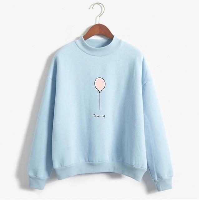 Women Sweatshirt Autumn Harajuku Style Lovely Balloon Letters Printed  Fleece Winter Hoodies Turtle Neck Pastel Colors cf8739845c22
