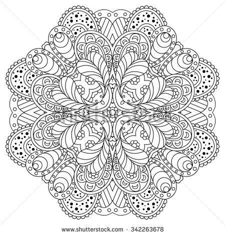 Black and white mandala. Vector illustration.