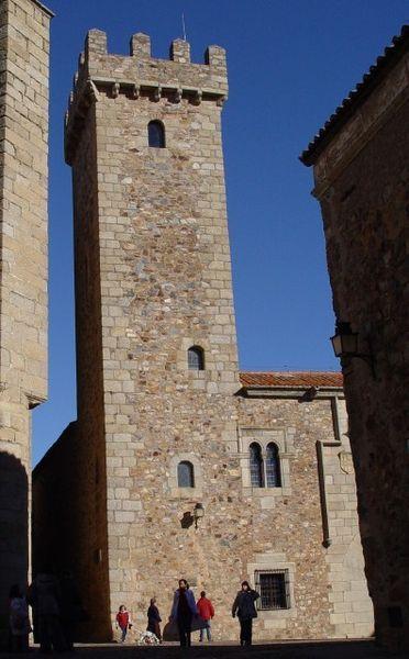 El Palacio de Las Cigüeñas conserva su torre íntegra, con toda su esbeltez.