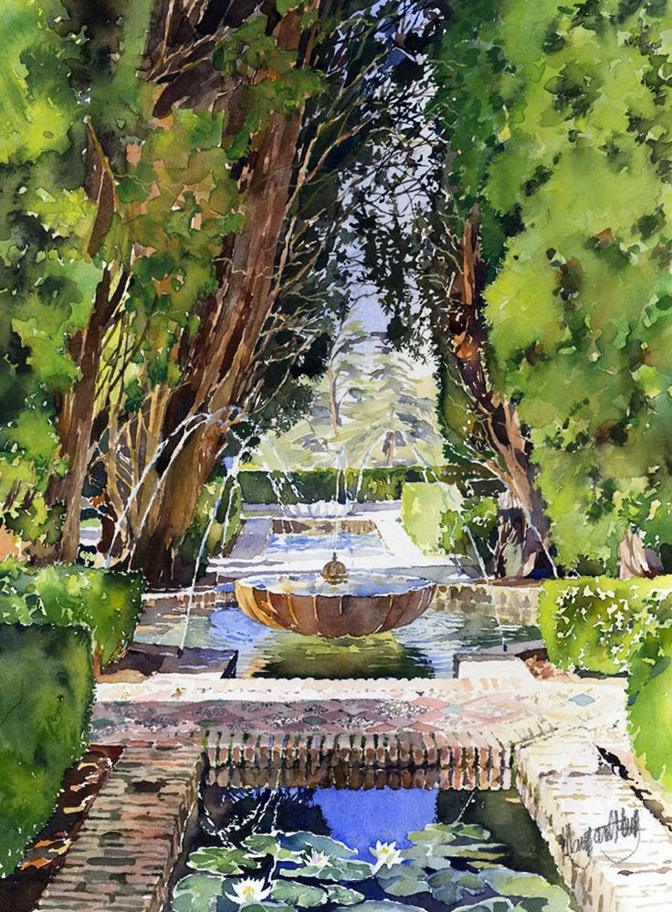 Water is an ever present feature of the beautiful gardens of the Generalife, the summer palace of the Moorish sultans of Granada. Ponds and fountains are everywhere. The water spraying on hot stone...