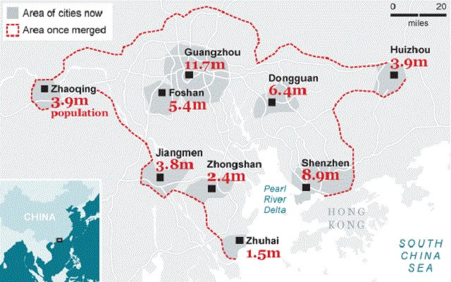 A cluster of cities in China's Pearl River Delta creates a megalopolis. Graphic via The Telegraph.
