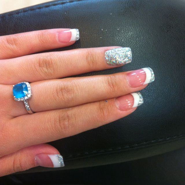 Pink and white solar nail with silver glitter love it <3 by Kayla Le