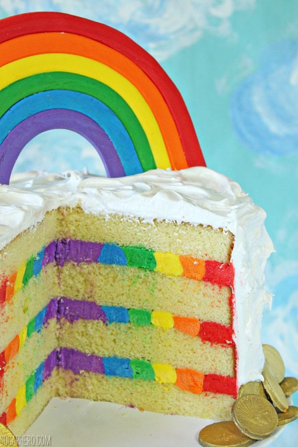 Rainbow in the Clouds Cake | I chose to flavor my cake and buttercream with lemon, but you can use any extract you like: vanilla, coconut, almond, and orange would also all be delicious. @elabau