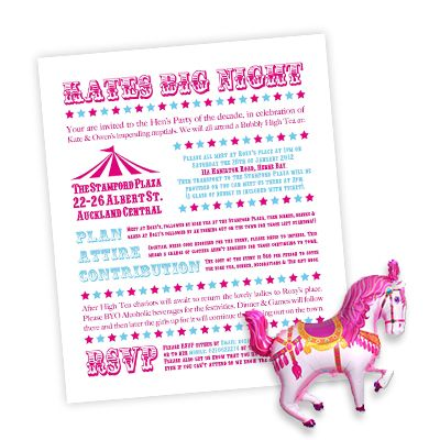 Hens night invitation design - carnival theme