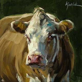 A Cow that reminds me of Ben Quilty's Achibald Prize-winning portrait of Margaret Olley - via karin jurick