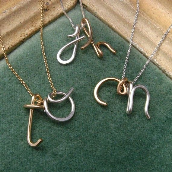 Custom Initials Necklaces in Silver and Gold by Laladesignstudio, $65.00
