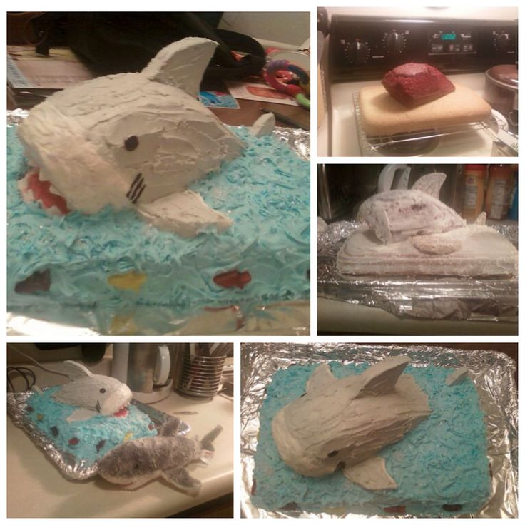 """#shark Shark cake!! DIY 2 cakes- carve one then  put together with carved sugar cookies as fins. Crumb coat then decorate using candy and frosting. I modeled this after my son's favorite stuffed animal """"Sharkey"""" the great white shark. Birthday cake for school party."""