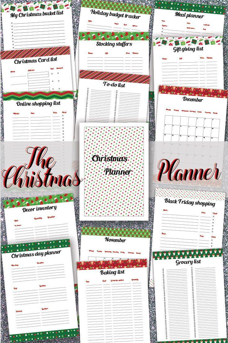 Printable Christmas Planner Holiday Organizer Kit Christmas Meal Planner Christmas Card List Christmas Planner Holiday Organization Christmas Meal Planner