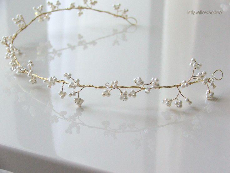 Gypsophelia Swarovski Crystal and Pearl Hair Vine