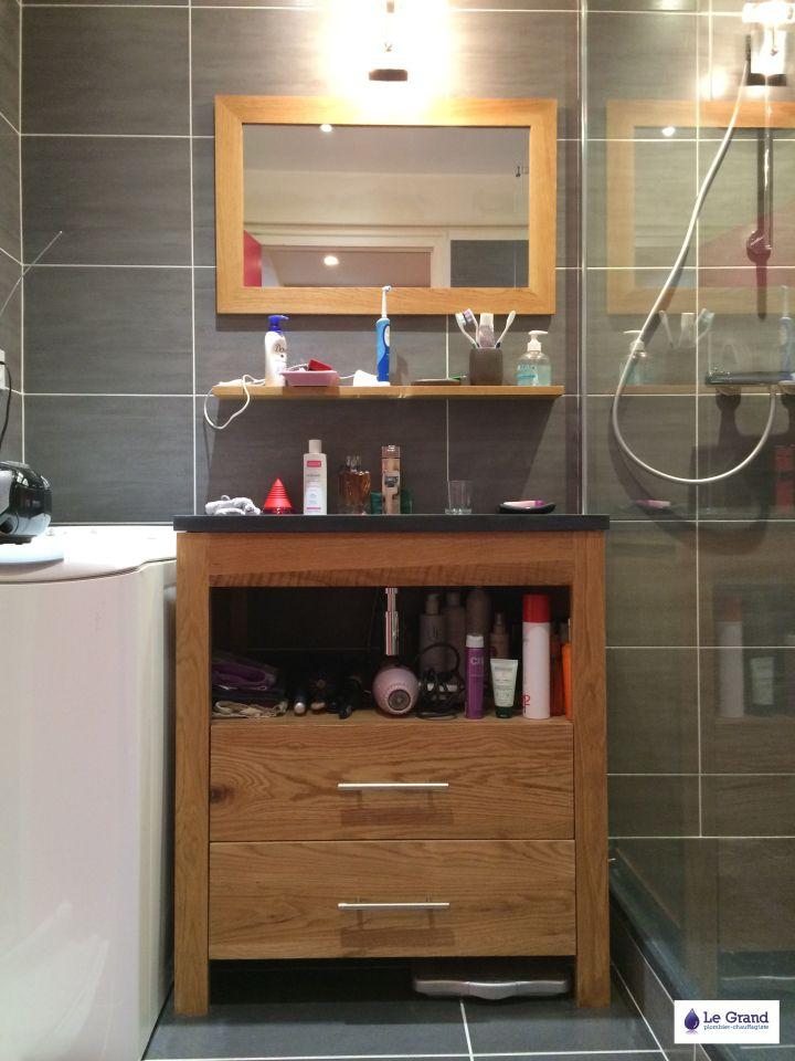 bruz salle de bains rennes plomberie agencement salle de bains receveur acquabella noir faence grise 2 - Aquabella Salle De Bain