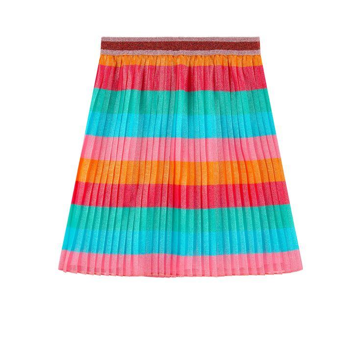 Super-fine voile fabric Silk lining Lurex details Flared cut Elastic waistband Multicolored stripes Mini me item - $ 515