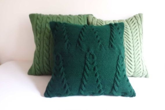 Christmas green knit pillow cover Christmas trees by Adorablewares
