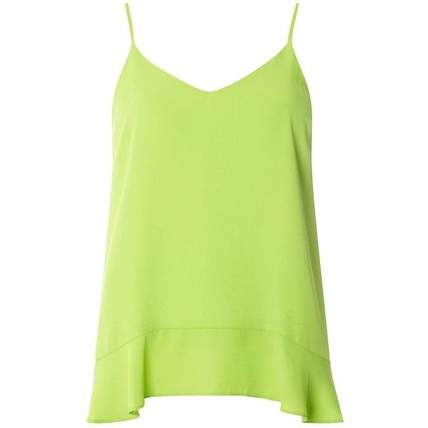 Dorothy Perkins Lime Ruffle Hem Cami Top ($35) ❤ liked on Polyvore featuring tops, green, ruffle hem tank, camisole tank top, cami top, green top and green tank top