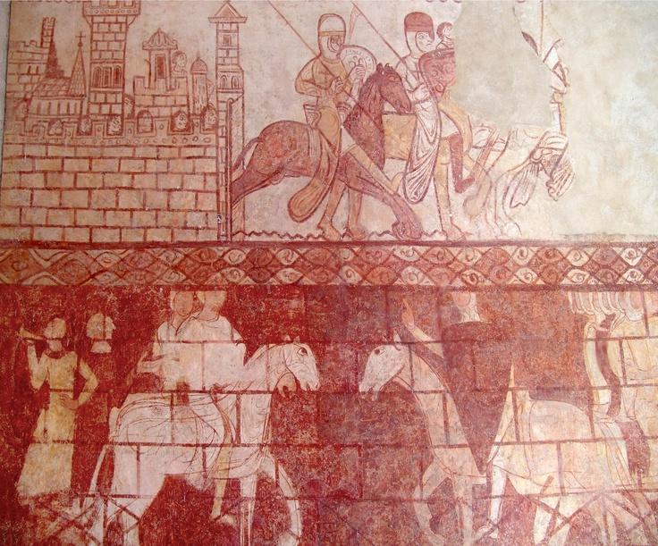 Peinture murale de la Chapelle des templiers de Cressac Saint-Genis en Sud Charente
