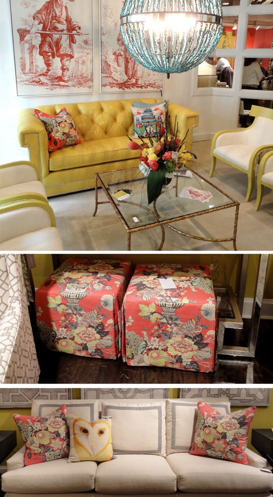 "A pillow and two ottomans (ottomen?) in ""Eliza's Garden"" by Robert Allen in the C. R. Laine Showroom at High Point. I also like that owl pillow in the bottom photo."