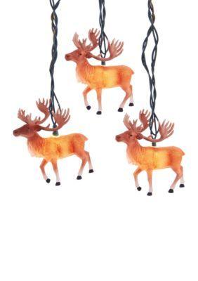 Kurt S. Adler Ul 10-Light Reindeer With Antlers Light Set -  - One Size