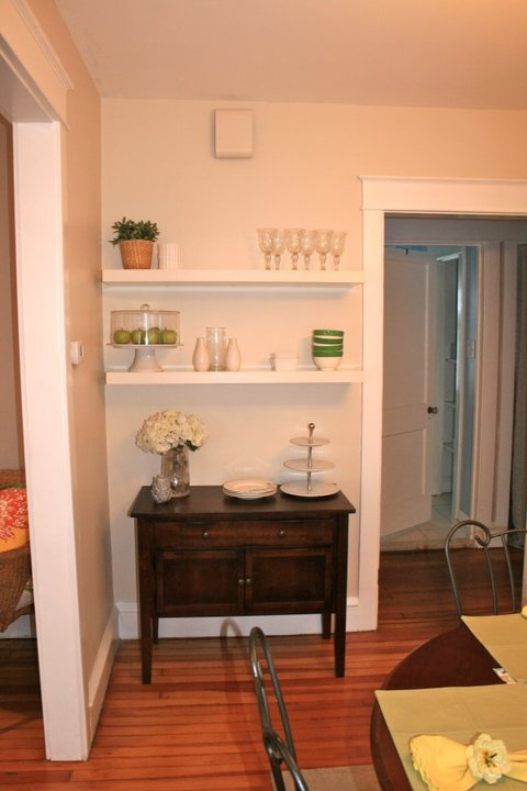Cute buffet area created for small dining room...
