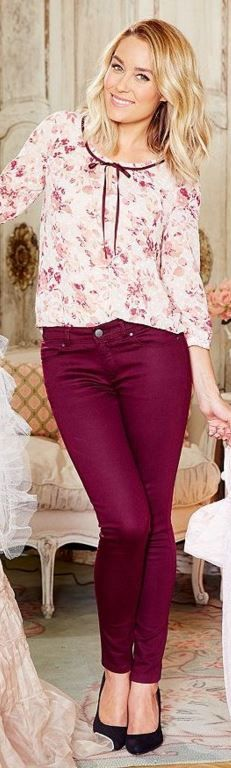 Who made Lauren Conrad's red pants and floral top?