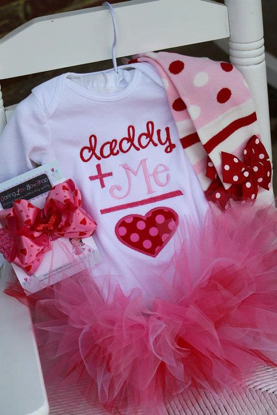 Baby Girl Valentine Tutu Outfit - Daddy's Girl - pink and red