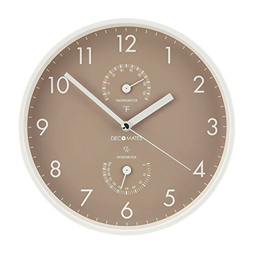 DecoMates Non Ticking Silent Wall Clock With Built In Thermometer,  Taupe/White