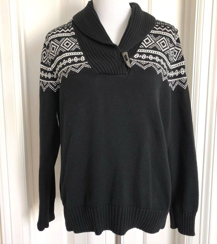 Ralph Lauren LRL 1X Nordic Fair Isle Shawl Collar Sweater Faux Antler Button #LaurenRalphLauren #Collared #Casual